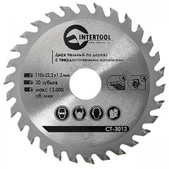 Saw blade for wood, carbide tipped 115x22x1.4 mm , 30 teeth INTERTOOL CT-3012