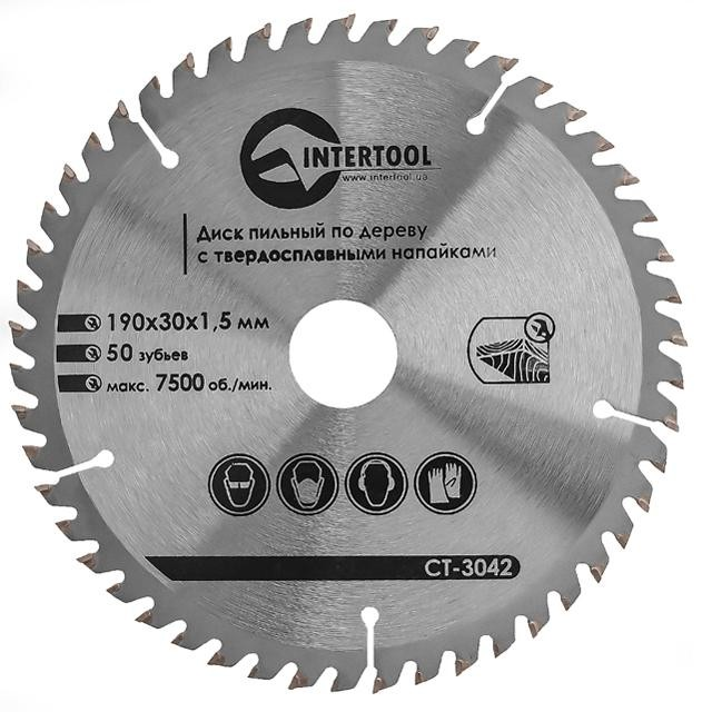 Saw blade for wood, carbide tipped 190x30x1.5 mm , 50 teeth INTERTOOL CT-3042