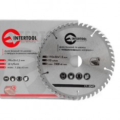 Saw blade for wood, carbide tipped 190x30x1.5 mm , 50 teeth INTERTOOL CT-3042: фото 3